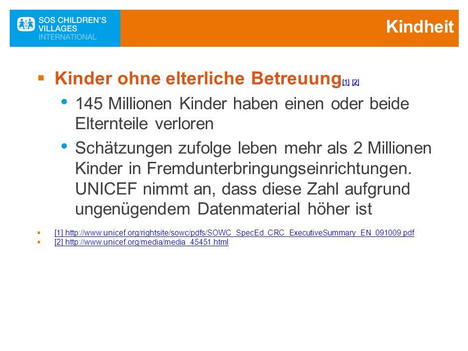 Kinder ohne elterliche Betreuung[1] [2]